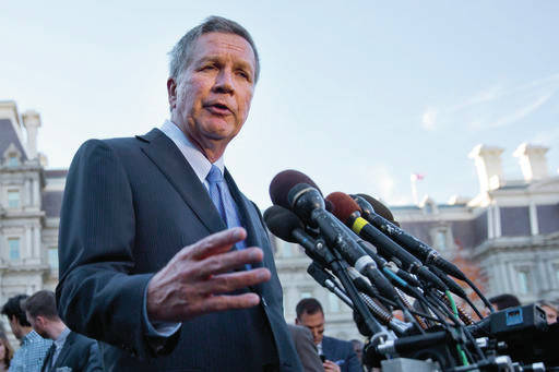 FILE  In this Nov. 10, 2016, file photo, Ohio Gov. John Kasich answers questions from reporters outside the West Wing of the White House in Washington. Kasich and other statewide leaders plan to address their top priorities this year at a forum sponsored by The Associated Press on Wednesday, Feb. 1, 2017. (AP Photo/Pablo Martinez Monsivais, File)