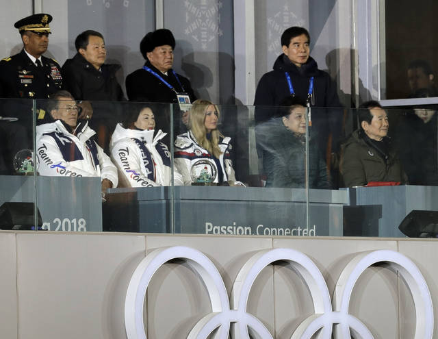 From front row left, South Korean President Moon Jae-in, his wife, Kim Jung-sook, and Ivanka Trump, U.S. President Donald Trump's daughter, watch the closing ceremony of the 2018 Winter Olympics along with Kim Yong Chol, vice chairman of North Korea's ruling Workers' Party Central Committee, standing third from back row left, in Pyeongchang, South Korea, Sunday, Feb. 25, 2018. (AP Photo/Michael Probst)