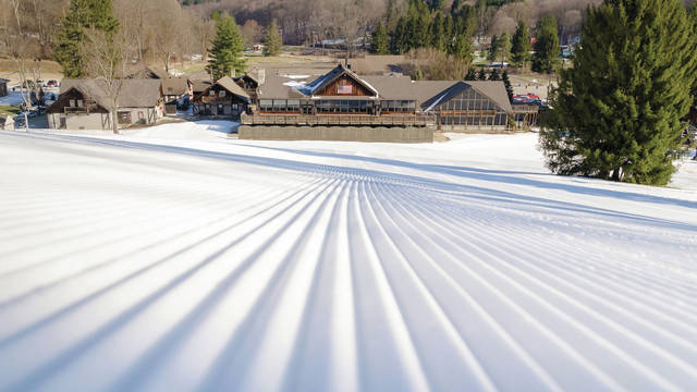 A corduroy ski slope at Snow Trails in Mansfield.