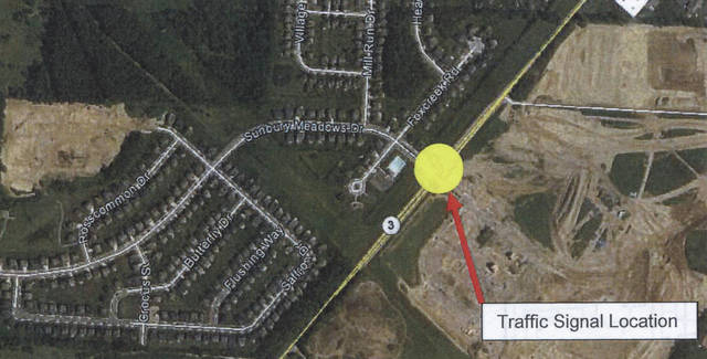 Early fall appears to be the revised installation date for a traffic signal at Sunbury Meadows Drive and State Route 3.