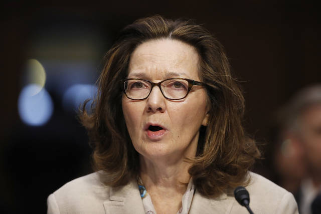 FILE - In this May 9, 2018, file photo, CIA nominee Gina Haspel testifies during a confirmation hearing of the Senate Intelligence Committee on Capitol Hill in Washington. The political schism in the Democratic Party is playing out in the vote for Haspel, as support from red-state senators facing re-election is bumping up against a more liberal flank eyeing potential 2020 presidential bids who reject of the nominee over the agency's clouded history of torture. (AP Photo/Alex Brandon, File)