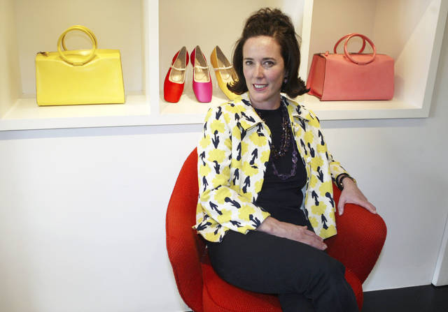 This May 13, 2004 photo shows designer Kate Spade during an interview in New York. Spade was found dead in an apparent suicide in her New York City apartment on Tuesday, June 5, 2018. (AP Photo/Bebeto Matthews)