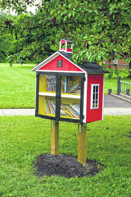The Little Free Library at Harrison Street Elementary School.
