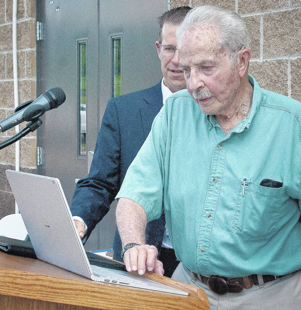 Lawrence R. Schreiber had the honor of pushing the button to start the pumps to pull raw water from the O'Shaughnessy Reservoir and move it to the Olentangy Water Treatment Plant.
