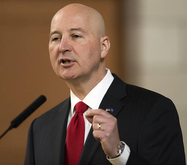 FILE - In this April 18, 2018, file photo, Nebraska Gov. Pete Ricketts speaks at the legislature, in Lincoln, Neb. Pope Francis' decree that the death penalty is