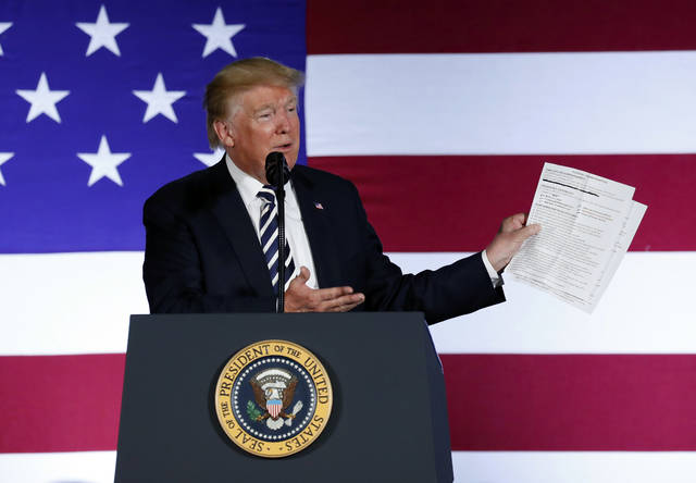 "In this Aug. 31, 2018, photo, President Donald Trump holds up a list of his administrations accomplishments while speaking at a Republican fundraiser at the Carmel Country Club in in Charlotte, N.C.  President Donald Trump is starting his Labor Day with an attack on a top union leader. Trump tweeted Monday that AFL-CIO President Richard Trumka ""represented his union poorly on television this weekend."" He added: ""it is easy to see why unions are doing so poorly. A Dem!"" Trumka appeared on ""Fox News Sunday,"" where he said efforts to overhaul the North American Free Trade Agreement should include Canada. (AP Photo/Pablo Martinez Monsivais)"